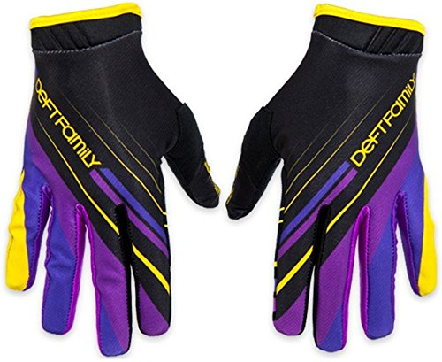 Deft Family Motocross MX Gloves Handschuhe Artisan Proper Purple Yellow (MEDIUM (9))