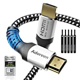 8K HDMI 2.1 Cable (Certified) 10feet,Adoreen 48Gbps 2.1 HDMI Cable (3.3ft to 16.5ft),for 8K@60Hz 4K@120Hz,HDR10 4:4:4 eARC HDCP2.2 Compatible PS5,PS4,Xbox,Fire Roku Apple TV with 5 Velcro Ties