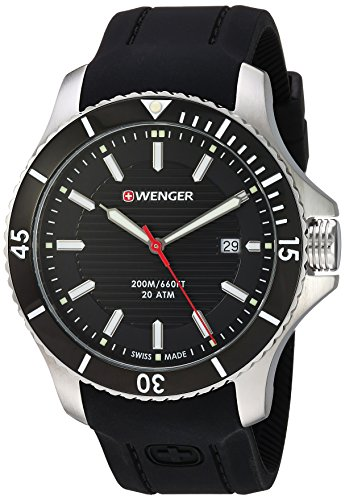 Wenger Men's Seaforce Stainless-Steel Swiss-Quartz Watch with Silicone Strap, Black, 21 (Model:...
