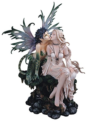 Major-Q G8091441 – Figura Decorativa de Hada y Dama besándose (poliresina, 48,2 cm)