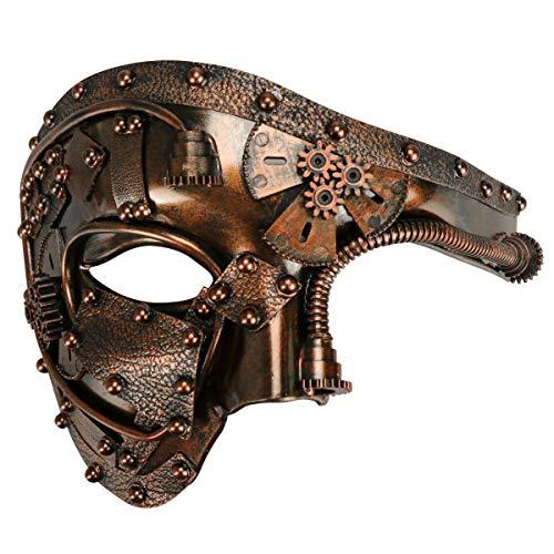 Coddsmz Mascarade Máscara Steampunk Phantom of The Opera Mecánica Veneciana Party Mask (cobre antiguo)