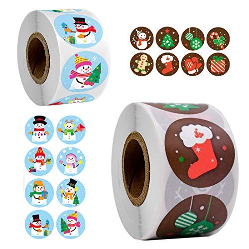 Feliz Navidad pegatinas rollo, 1000Pcs Etiqueta Adhesiva Pegatinas redondas, hechas a mano, para Sello Scrapbooking Regalo...