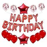JanPraci Globos de Cumpleaños, Decoraciones de Fiesta, Globo de Confeti con Letras Happy Birthday, Globos de Lámina de Látex, Globos Cumpleaños para Hombres Mujeres Adultos Ñinos (Rojo)