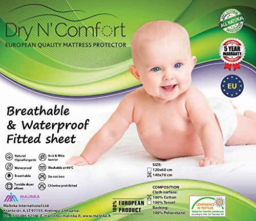 Waterdichte matrasbeschermer HOESLAKEN voor kinderen 70x140 - Dry N Comfort - baby mattress protector Europese premium kwaliteit 5 jaar garantie