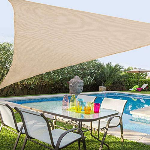 BAKAJI Vela Telo Parasole Tenda Triangolare Ombreggiante in Tessuto Resistente Protezione UV 90% per Ombra Giardino Terrazzo con Aggancio Connettori a D Colore Beige Corda Inclusa (3,6 x 3,6 Metri)