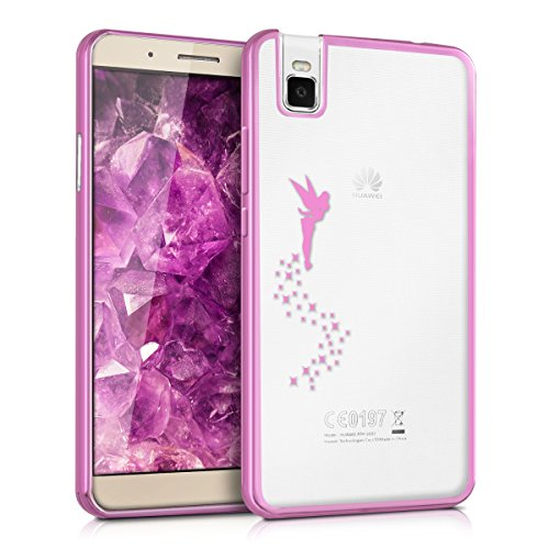kwmobile Huawei ShotX Hülle - Handyhülle für Huawei ShotX - Handy Case in Fee Design Pink Transparent
