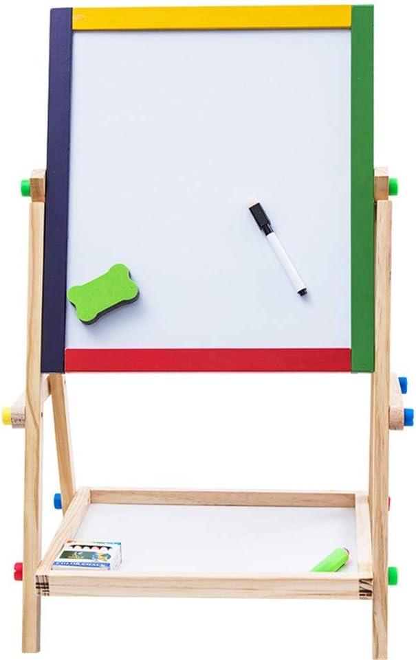 Magnetisch tekenbord Children's Houten Dubbelzijdig Black and White Board Schildersezel van de lijst met de klok Doodle kinderspeelgoed (Color : Green) Natural