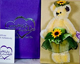 Annette Funicello Collectible Bear Co - Sunny Blooms - 9 Inch Mohair Bear - Of Bear Buds Collection - Yellow Mohair & Fully Jointed - Wears Bright Silken Blossoms & Ribbon - Logo Pin - Numbered COA - Out of Production - New - Collectible