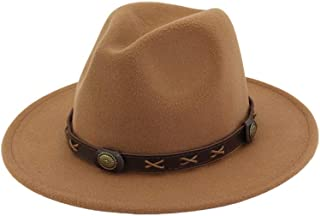 Men Women Wool Fedora Hat with Punk Belt Wide Brim Travel Church Cap Fascinator Jazz Hat Size 56-58CM. XGCCDAUha (Color : Coffee, Size : 56-58)