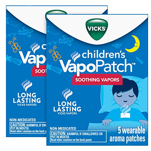 Vicks Childrens VapoPatch, Long Lasting Soothing Vicks Vapors for Children Ages 6+, Mess-Free Aroma Patch, Apply to Clothing, 10 Patches (2 Packs of 5)