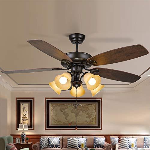 LXHK Ventilador de Techo Tiffany con Luz, Ventilador de Techo Silencioso Vintage con 4 Cuchillas de Reversibles, Lámpara de Techo Led Madera con Interruptor de Tire, Pantalla de Vidrieras, 5 Led