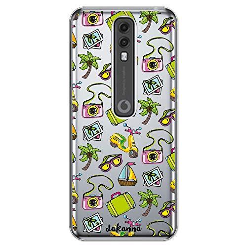 dakanna Funda para [ Vodafome Smart V10 ] de Silicona Flexible, Dibujo Diseño [ Pattern Banner Verano con Scooter, Gafas, Barco y Palmera en la Playa ], Color [Fondo Transparente] Carcasa Gel TPU