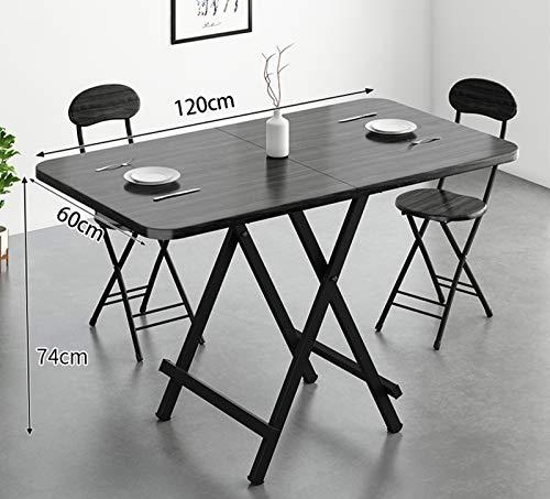 LHY Kitchen La Mesa de Comedor de Madera Maciza es Plegable, la Mesa de Comedor para el hogar es expandible y la pequeña Mesa de Comedor del apartamento, el Estante de Metal, de 120 cm,Negro