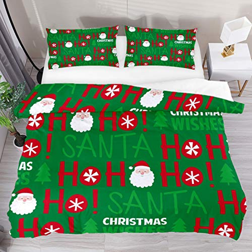 SENNSEE Christmas Ho Santa Claus 3 Piece Duvet Cover Set Twin Size 66'x90' Soft Quilt Cover Decorative Bedding Sets 1 Duvet Cover 1 Pillowcase Polyester Bedspread