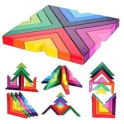 """Nesting & Stacking Set di blocchi arcobaleno in 12 diversi colori e 3 dimensioni. Giocattoli di apprendimento perfetti per i tuoi bambini. Dimensioni - (L) X (W) X (H) 19,5X19,5X2cm / 7,68 """"X7,68"""" X0,8 """"(appr.). Materiale: legno di gomma con legno no..."""