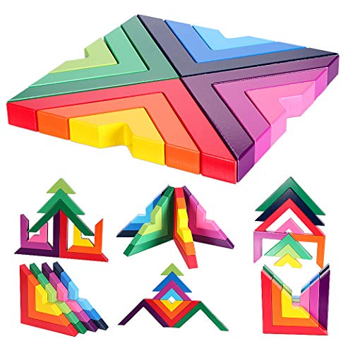 Lewo Wooden Rainbow Stacking Game Stacker Geometry Building Blocks Creative Nesting Educational Toys for Kids Toddlers (Rainbow Games 1)