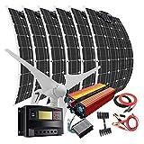 kit de energía eólica solar 1000W con inversor de 2000W: 400W turbina de viento y 6 paneles solares de 100W y controladores de carga y accesorios, cargador de batería 12V 24V para barco marítimo