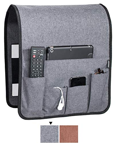 Anti Slip Couch Caddy Holds 10lbs w/Hook & Loop Fastener, Works Where Others Don't, EASILY HOLDS up to 12' Laptop, TV Remote, Magazines, BEST Solution for Max Load Capacity, Armrest Organizer (14x 35)