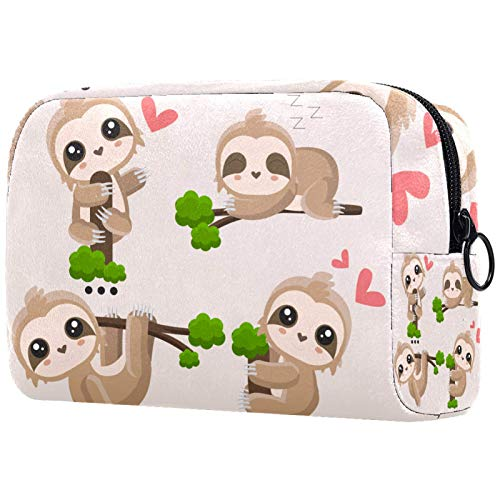 Neceser de Maquillaje Estuche Escolar para Cosméticos Bolsa de Aseo Grande Cute Sloth_Mesa De Trabajo 1
