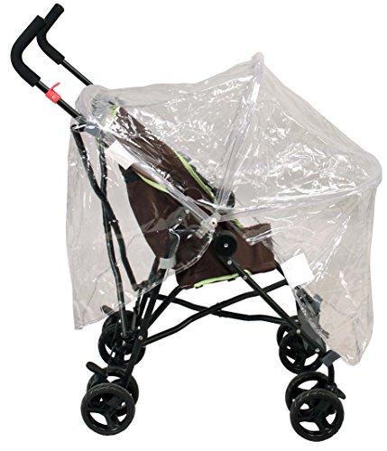Looping regenbescherming met frame voor kinderwagen zonder dak, transparant