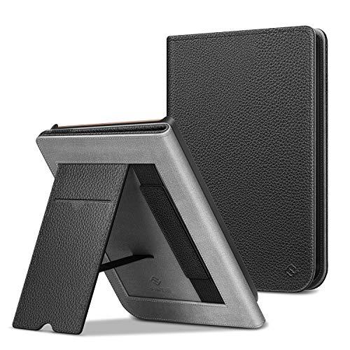 FINTIE Funda Vertical para Pocketbook Touch HD 3/Touch Lux 4/Basic Lux 2/Color (2020) e-Book Reader - Carcasa con Bolsillo para Tarjeta y Correa de Mano Función de Auto-Reposo/Activación, Negro