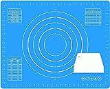 Estera de hornear de silicona extra gruesa, colchoneta laminadora de pastelería grande de 50 * 40 cm, tablero de cocina plegable con medición para amasar, galletas, pan, cupcake, pizza, macarrón