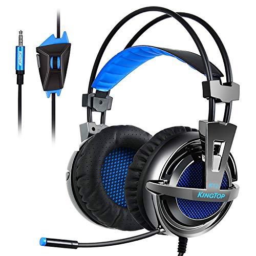 KingTop Cuffie Gaming Per PS4 Xbox OneS Cuffie Stereo Da Gaming Con Microfono Pieghevole Per PCGame VideoGame Tablet PC Cellulari Cuffie Da Gioco Con Cavo Headset Gaming Wired Nero Blue