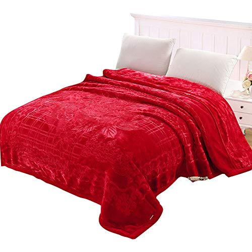 HOSD Decke dick doppellagig warm doppellagig Decke Seidendecke Wolkendecke Fashion 200*230 10 kg Roter Schwamm