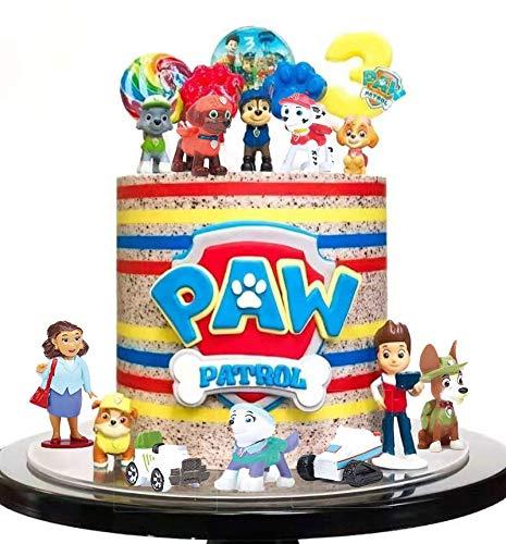 SunAurora 12 Stück Paw Dog Patrol Geburtstagstorte Dekoration, Mini Paw Patrol Geburtstags Tortenfiguren,Cartoons Tortendeko, Kinder Cupcake Figuren
