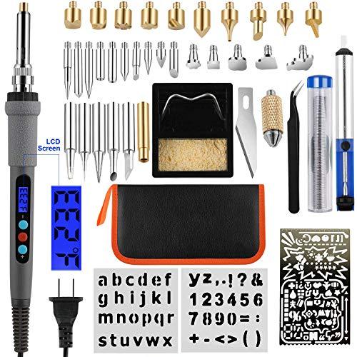 JYL - Kit de quemador de madera LCD, bolígrafo de pirografía con control de temperatura variado, quemador de madera, herramienta para quemar madera, soldadura, tallado, grabado en relieve, 43 unidades