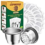 CAPMESSO Reusable Espresso Capsules Refillable Coffee Pod Stainless Steel Cups Compatible with Nespresso OriginalLine Brewer (2 Pods+100 Lids)