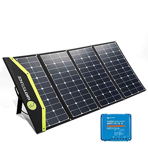 WATTSTUNDE Sunfolder Solartasche - Mobiles 12V Outdoor Solarpanel - faltbares Solarmodul mit Laderegler und Batteriekabel (220W mit Victron 75/15)