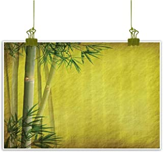 Sumilace Art Print/Poster Pannel Wall Decor, Silhouette of Bamboo Branches Timber Climatic Herbs Nature Classic Art Print Canvas Wall Art - 16