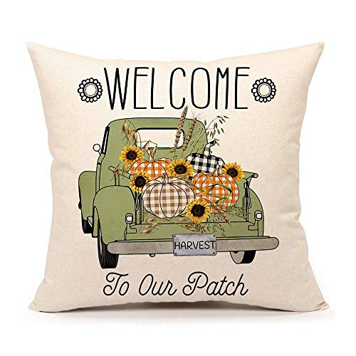 Pumpkin Patch Harvest Truck Fall Rustic Throw Pillow Cover Farmhouse Thanksgiving Cushion Case for Sofa Couch 18x18 Inches