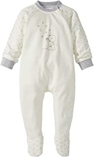 Bornino Schlafoverall Hase - Baby-Pyjama mit Tier-Print & seitlichem Reißverschluss - Strampler aus Reiner Baumwolle - wollweiß/Sterne Allover
