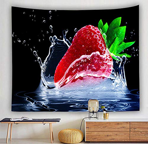 Tapiz de fresa y arándano montado en la pared decoración de frutas tropicales tapiz tapiz ropa de cama de moda plantas tropicales color 150x100 cm