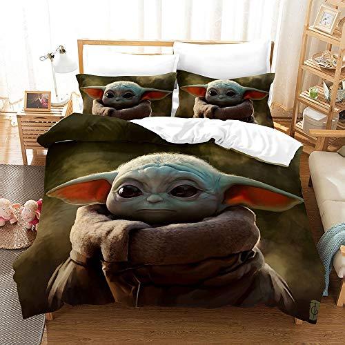 Star Wars Funda nórdica The Mandalorian 3D con estampado Juego de ropa de cama 2 piezas incluyen 1 funda nórdica y 1 fundas de almohada (M2, individual 135 x 200 cm)