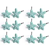 Shower Curtain Hooks, 12Pcs Starfish Anti Rust Decorative Resin Shower Curtain Rings Hooks for Bathroom Bedroom Baby Living Room Decor Shower Rods Curtains Window Hangings Holder