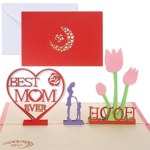"""3D Pop Up Mother's Day Greeting Card with Envelope, Flower Blossom Best Mom Ever Pop Up Cards for Mother's Day, Birthday, Wedding Anniversary, Thank You Card, I Love Mom Card 6"""" x 4"""""""