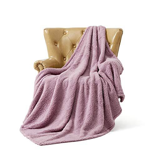FFLMYUHUL I U Ultra Super Soft Lightweight Cozy Throw Blanket for Bed Couch Warm Fuzzy Sherpa Blanket/Throw Blanket for Shower Gift Lavender