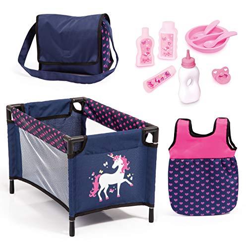 Bayer Design 61754AC poppenaccessoires, 11-in-1 verzorgingsset, grote accessoireset voor babypoppen incl. tas, reisbed, slaapzak en onderhoudsproduct, blauw, roze met eenhoorn