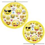 Kompanion 81-teiliges Party-Set Emoji Kindergeburtstag Partydekoration - Pappteller, Tassen, Servietten, Tischdecke und Bonus Emoji Aufkleber, Geburtstagsfeier Zubehör für 20 Kinder - 4