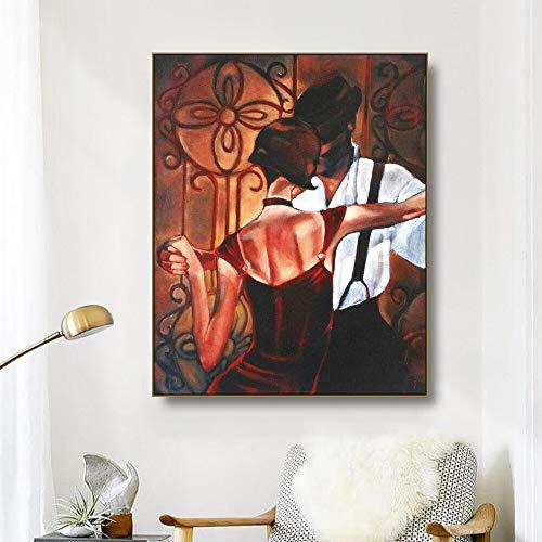 ganlanshu Leinwand Ölgemälde Männer und Frauen tanzen in der Tanzbar Kunst Plakat Wandbild Dekoration Moderne Wohnzimmer Dekoration,Rahmenlose Malerei,70x90cm