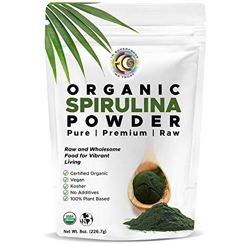 Earth Circle Organics | Organic Spirulina Powder, Kosher, Raw and Non-Irradiated | Pure Vegan Protein | Premium Superfood, High in Amino Acids and Antioxidants - 8oz
