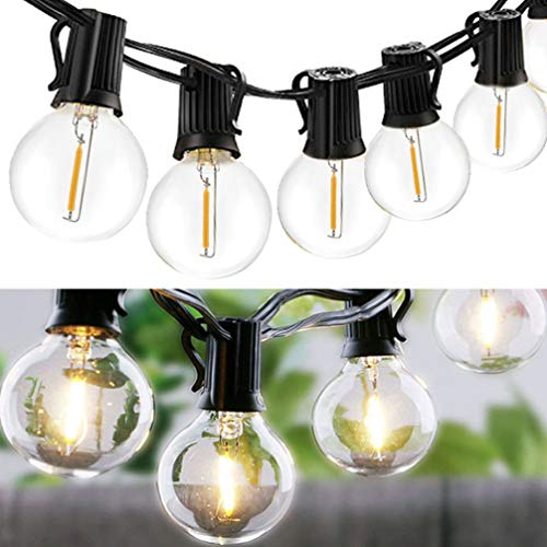 Mobestech Outdoor String Light, 1 Pack 10 LED G40 Vintage Edison Bulbs Waterproof Globe Hanging Lights Backyard Garden Decoration for Wedding Festival, Solar Powered (Warm White)