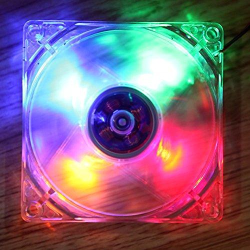 Domybest - Ventilador para CPU con 4 luces LED. Ventilador de refrigeración de 12 cm, 9 aspas, luz LED, estuche de ordenador de 120 x 120 x 25 mm. multicolor Colorful