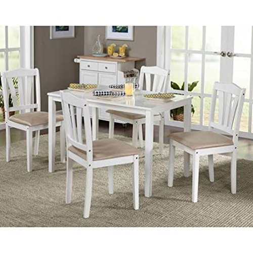 Table and Chairs 5-Piece Dining Set, White Dinette Kitchen Breakfast Table and Chairs for Lunch, Dinner, Supper and All Other Meals with Family and Friends