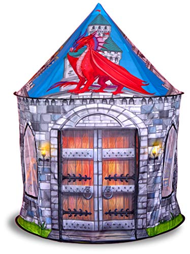 Dragon and Knight Castle Play Tent Playhouse | for Indoor and Outdoor Fun, Imaginative Games & Gift | Foldable Playhouse Toy + Carry Bag for Boys & Girls | by Imagenius Toys