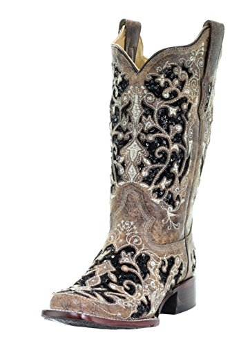 CORRAL A3648 Floral Embroidered Glitter Inlay and Studs Square Toe Boots (7.5) Brown