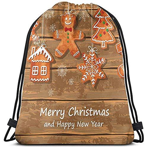 jenny-shop Gedruckte Drawstring-Rucksack-Taschen, lustige Aquarell-Plätzchen auf köstlichem Weihnachtsgebäck der hölzernen Bretter